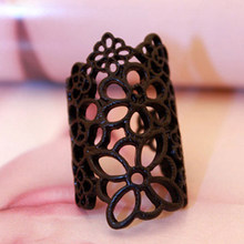 Fancy Hollow Pattern Rings Quality Rose Flower Rings Golden Silver Black for Women(China)
