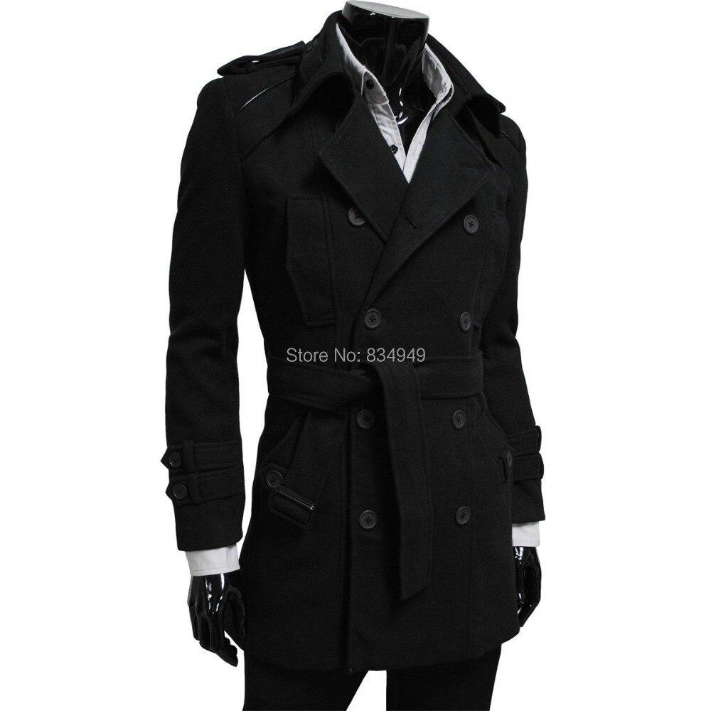 Custom Made Noir Tranchée Manteau Hommes, Double Breasted D'hiver Pardessus Hommes Long Manteau, cachemire Laine Manteau D'hiver Manteaux Pour Hommes