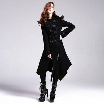 Devil Fashion Heavy Punk Rock Asymmetric Long Jacket Coats for Women Steampunk Black Autumn Winter Cotton Overcoat Windbreakers