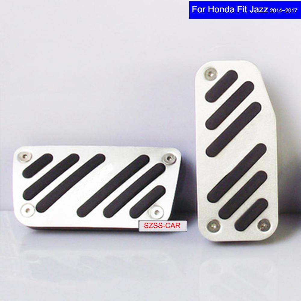 Car Aluminium alloy Fuel Petrol Clutch Fuel Brake Braking Pad Foot Pedal Rest Plate Set for Honda Fit 2014 2015 2016 2017 Pedals