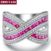 RoseRed Square Cubic Zirconia Silver Color Fashion Jewelry Ring Cocktail Party Working For Women Wholesale Top