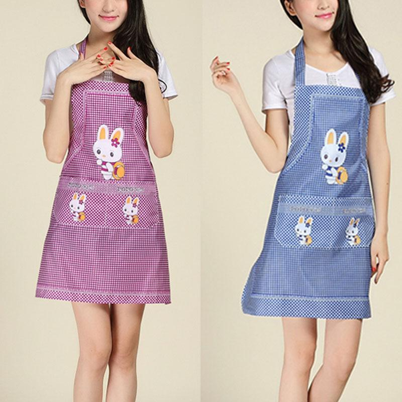 Cartoon Apron Rabbit Sleeveless Aprons Double Pocket Women Polyester Apron Bib Home Household Cleaning Accessoeies Tool