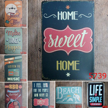 20*30cm English Poetry Romantic Vintage Metal Tin Signs Home Decor Bar Coffee Pub Hotel Poster Iron Painting