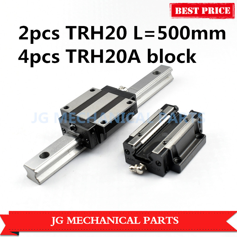 High Precision 2pcs 20mm Linear guide rail TRH20 L 500mm+4pcs TRH20A Slider block bearing for CNC parts large format printer spare parts wit color mutoh lecai locor xenons block slider qeh20ca linear guide slider 1pc