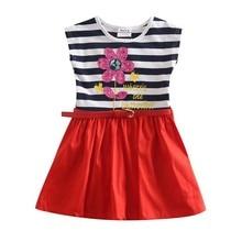 Girl summer dress children dress clothing lovely flower stripped summer short evening tutu lace party dress for girls H4791