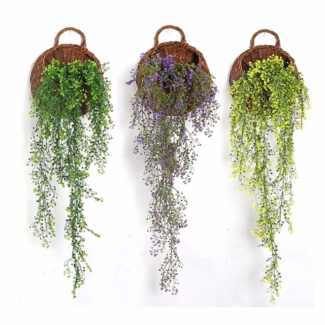 Plastic Green Vine Hanging Plant Artificial Weeping Willow Wall Home Decor  Balcony Decorattion Garland Flower Basket