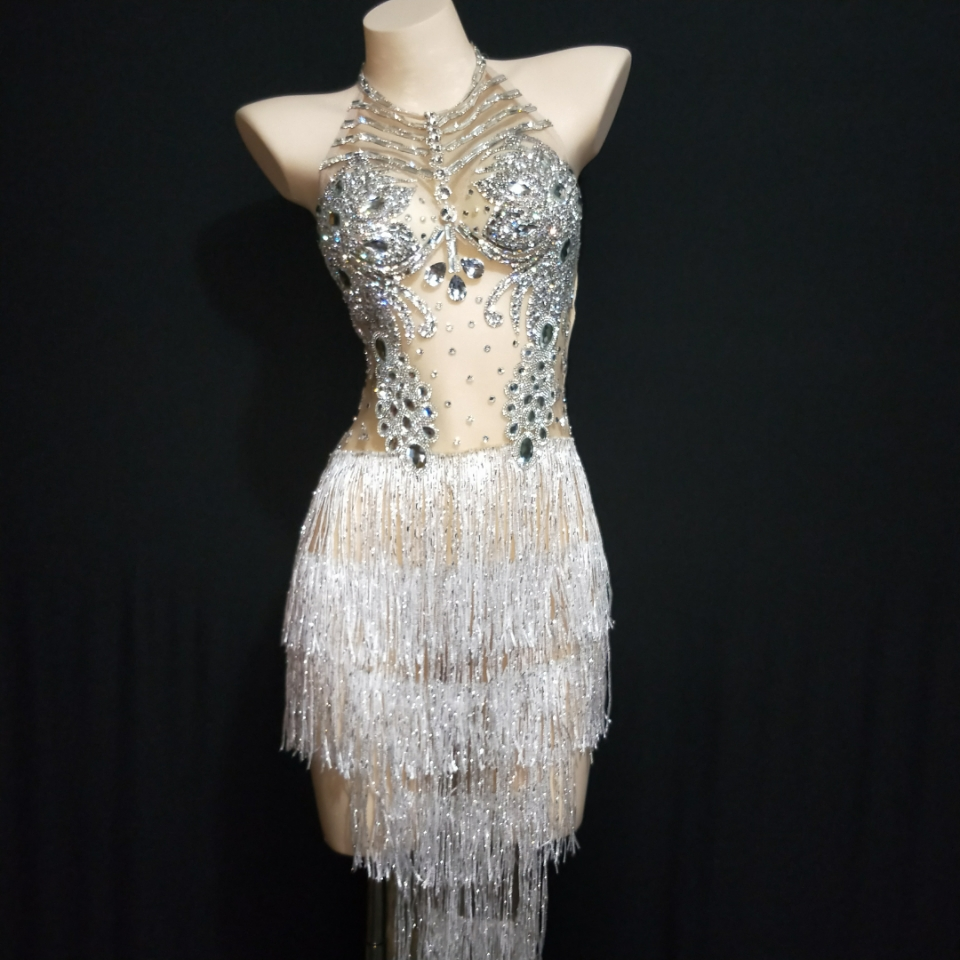 Sexy Silver White Rhinestones Fringes Dress Women Singer Crystals Outfit Stage Wear Celebrate Bar Nightclub Dance Wear