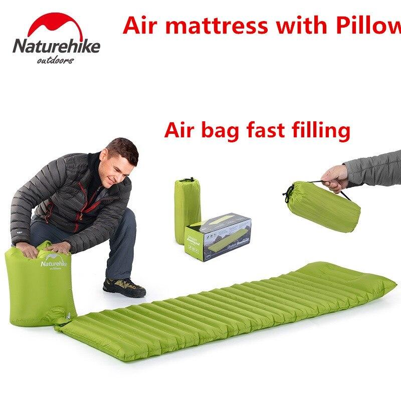Naturehike Ultraleve Ao Ar Livre Colchão de Ar Moistureproof Mat Com pillow Camping Cama de Ar almofada Inflável Esteira de Acampamento Almofada de Dormir