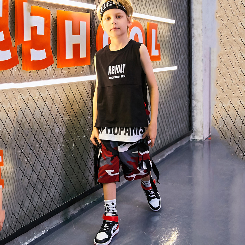 Fashion Boys Street Dance Hip Hop Dance Costumes Children Jazz Dance Clothing Kids Performance Stage Sports Wear Outfit DQS2095