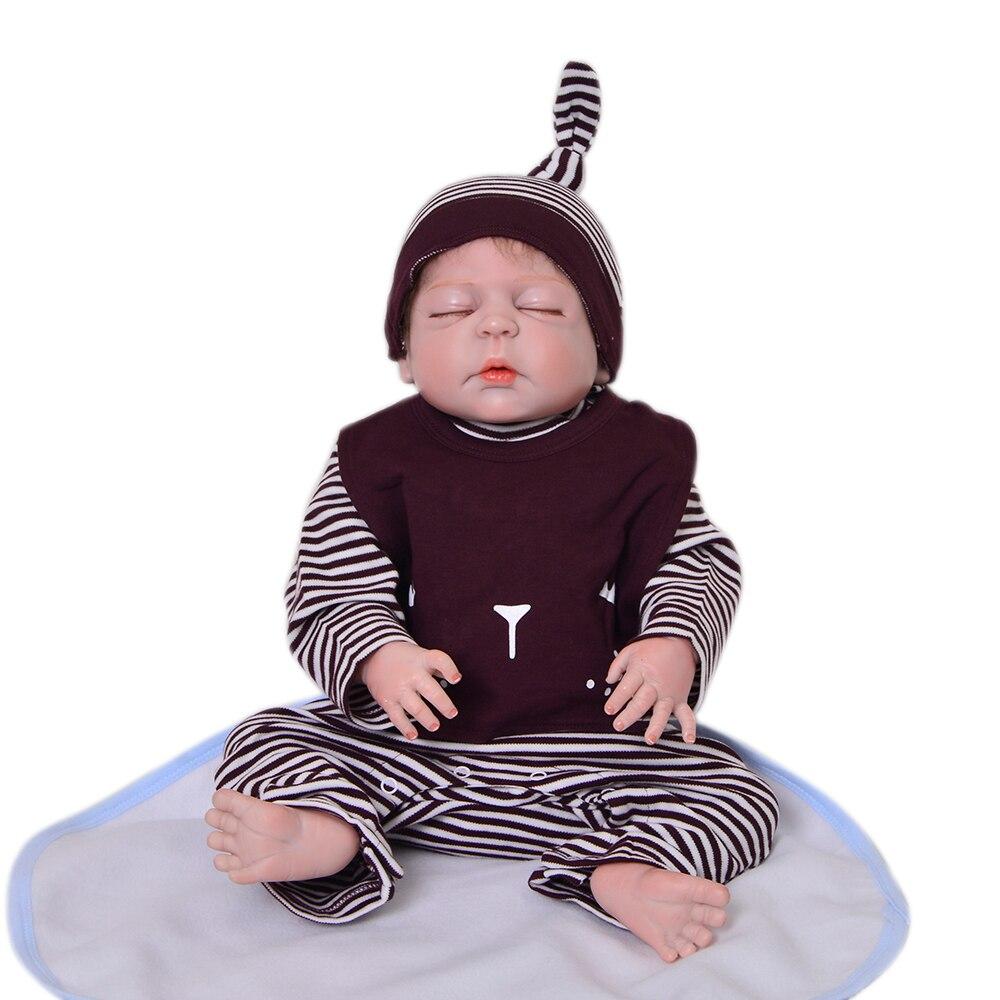 Colección limitada de 23 ''57 cm muñecas Reborn vinilo de silicona completo niño durmiendo muñeca juguete para Cumpleaños de Niños regalo-in Muñecas from Juguetes y pasatiempos    3