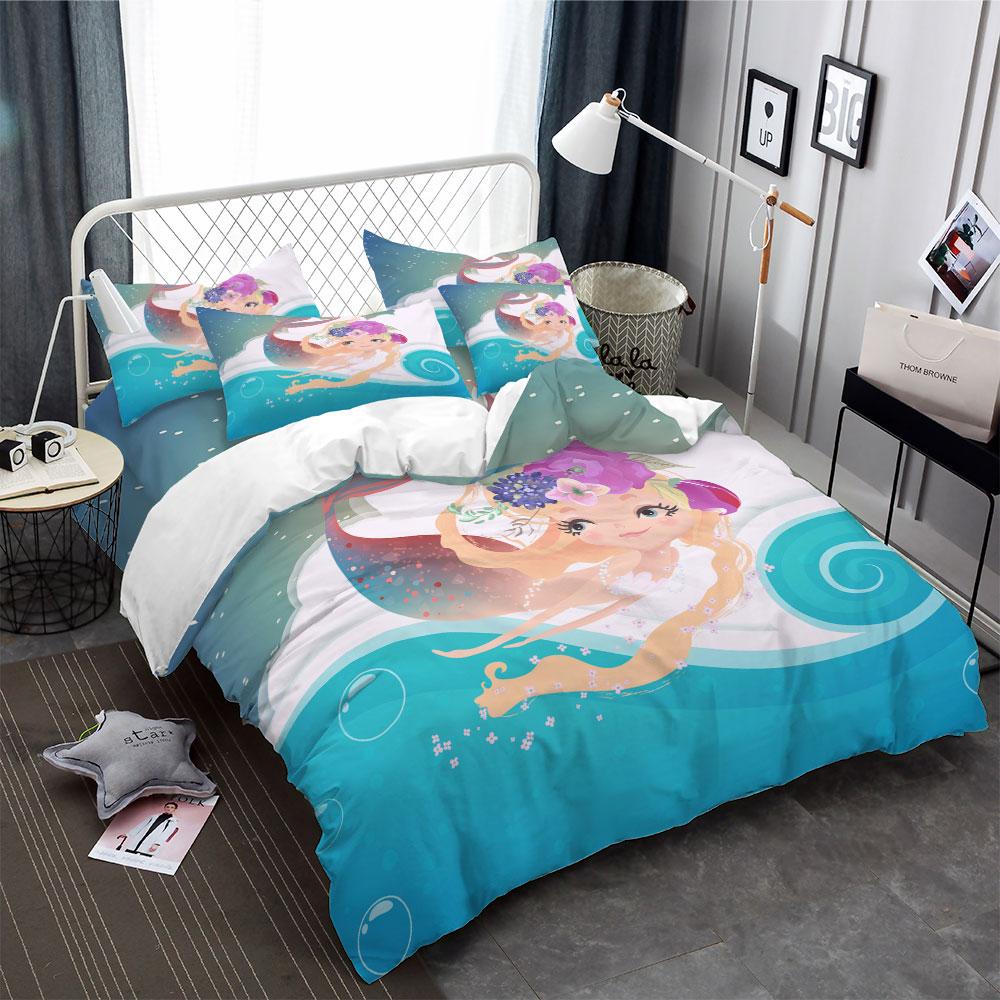 Cartoon Mermaid King Size Bedding Sets For Kids Gift Anime Children Bedding Set Duvet Cover Pillowcase Bedspread Bed Linen Sheet