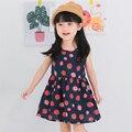 New Lovely Grils Summer Dresses Kids Cartoon Strawberry Print Sundress Outfit Children Party Dress