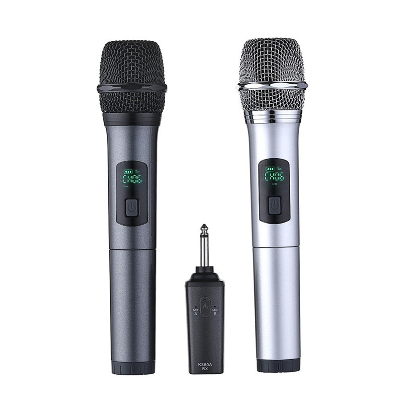 K380A 6.5mm 2PCS Wireless Microphone Professional Cordless Live Broadcast Portable Handheld UHF Karaoke Mic Consumer Electronics