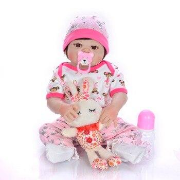 23inch Full Silicone Body bathe Reborn Baby Doll Toys soft bebe doll Lifelike 55cm  Doll kids birthday play house baby