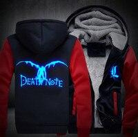 Dropshiping USA Size Men Women Death Note Adult Thicken Fleece Hoodie L Zipper Luminous Sweatshirts Coat