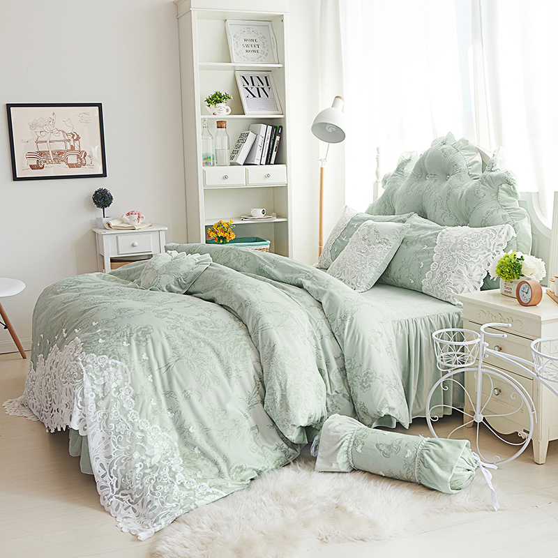 Princess Lady Style Fleece Winter Bedding Set Full Queen King Size 4/7pcs Purple Green Beige Lace  Bed Skirt Duvet Cover Set