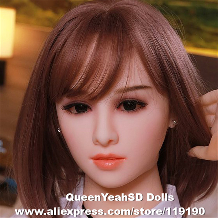 Realistic Silicone Love <font><b>Doll</b></font> Head Oral <font><b>Sex</b></font> Toy Sexy Tools For Men TPE Sexdoll Heads For <font><b>130cm</b></font> To 170cm <font><b>Doll</b></font> image