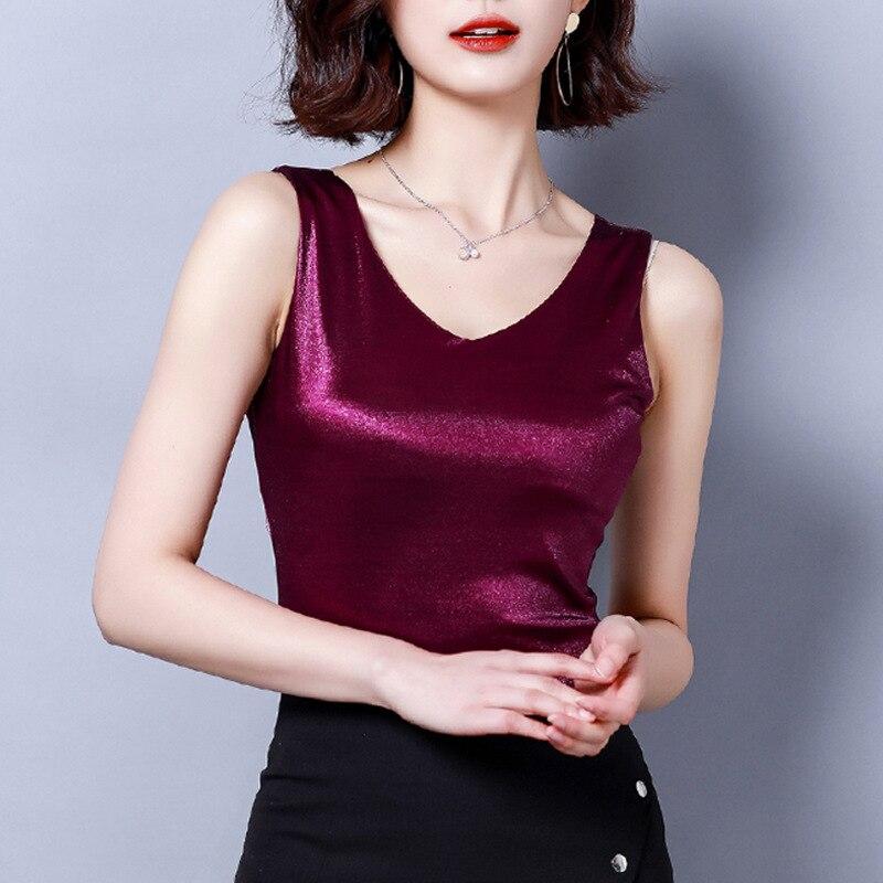 Vente chaude Pure à la mode à l'intérieur col en V blanc/noir/kaki/Caramel/rouge gilet 2019 nouveau printemps été Sexy veste M-3XL haut