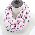New Lovely Female Hearts Ring Scarf Fashion Women Heart Pink Silk Infinity Scarves Nice Chevron Chiffon Loop Shawl