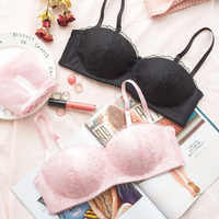 Roseheart New Women Fashion Pink Sexy Lingerie Lace Embroidery Half Cup Bralette Cotton Panties Wireless Bra Sets Underwear