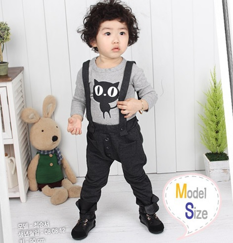 Hooyi Boys Clothes Sets Children T-shirts Overalls pants suit Cat Tees Jumpsuit Pant girls clothing sets