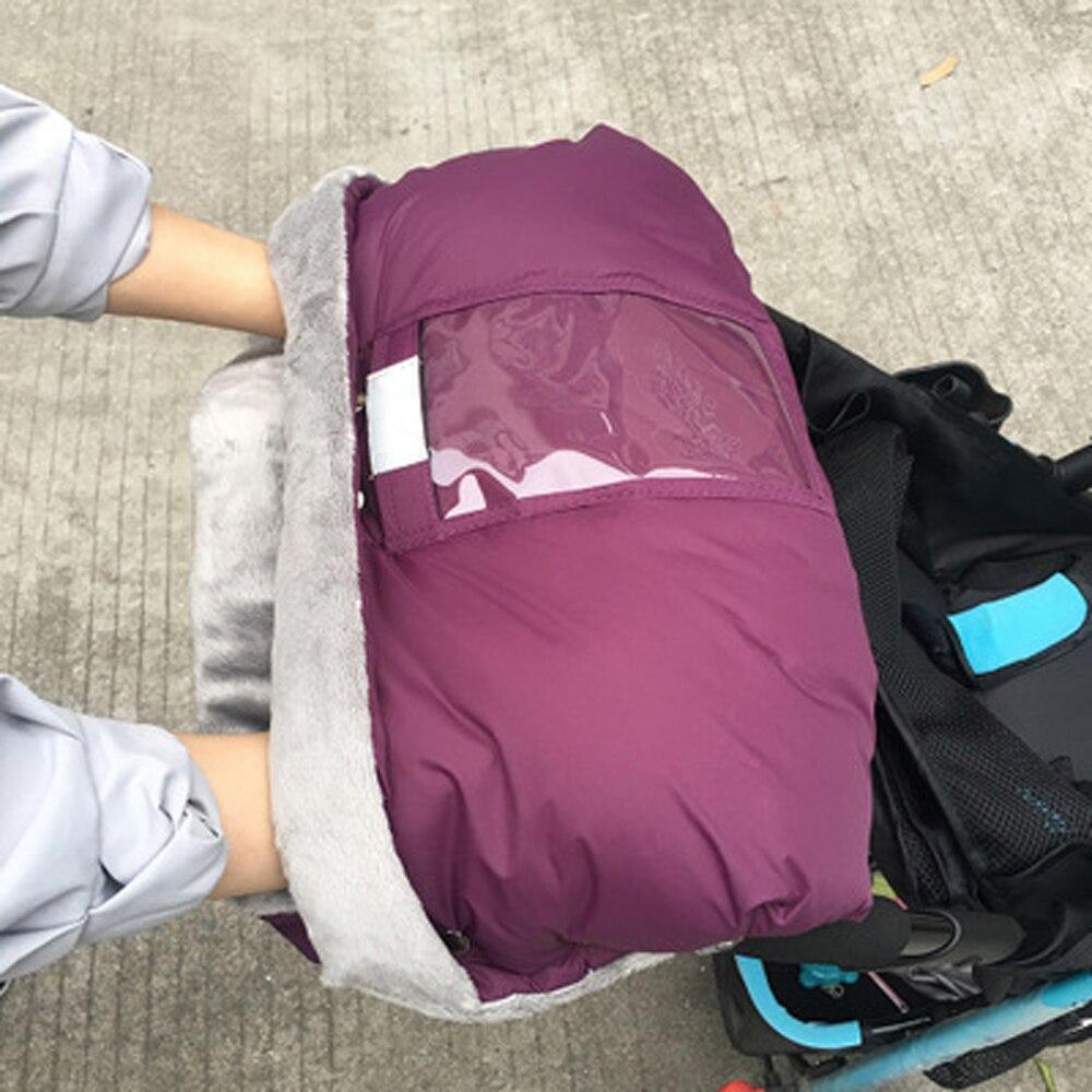 Warm Baby Winter Stroller Gloves Hand Muff Stroller Pram Accessories Waterproof Pushchair Hand Cover Fur Mittens & Phone Pocket