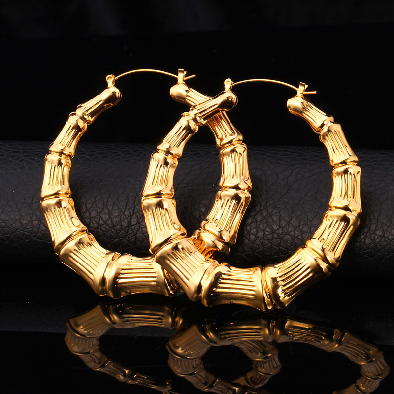 Kpop Earrings For Women High Quality Yellow Gold Silver Color Jewelry Earring Fashion Bamboo Hoop E953 In From