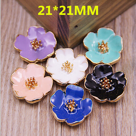 Wholesale Fashion 50PCS 21*21MM Enamel Jewelry Charms Gold Tone Alloy Bracelet necklace Earring Garment Handbag Decor Material