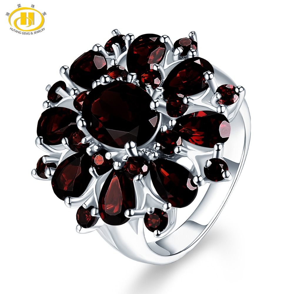 Hutang 7.54 ct Natural Gemstone Black Garnet Wedding Ring Solid 925 Sterling Silver Engagement Shape Fine Jewelry For Women Gift