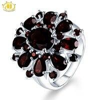 Hutang 7.54ct черные гранатовые кольца натуральный драгоценный камень 925 Серебряное кольцо enagemenet изысканные роскошные ювелирные изделия элегант...