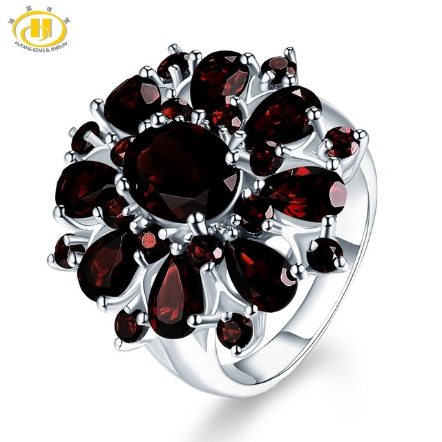 Hutang 7.54ct Black Garnet Rings Natural Gemstone 925 Silver Engagemenet Ring Fine Luxury Jewelry Eleganet Design for Women Gift