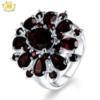 Hutang 7.54ct Black Garnet Rings Natural Gemstone 925 Silver Engagemenet Ring Fine Luxury Jewelry Elegant Design for Women Gift