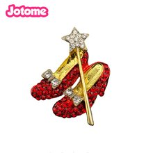 In stock Gold Crystal Red Shoes Star Lapel Pin Dorothy Wizard Of Oz Style Shoes Brooches High Heel bow and stars pin(China)