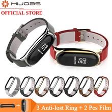 Mijobs PU Leather Wrist Strap for Xiaomi Mi Band 4 3 Bracelet band Wristband Smart Watch Correa Accessories