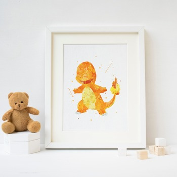 Charmander picture print . Pokemon Watercolor Poster Print  Print Kids Room Decor boy Nursery Art Gift idea wall 1