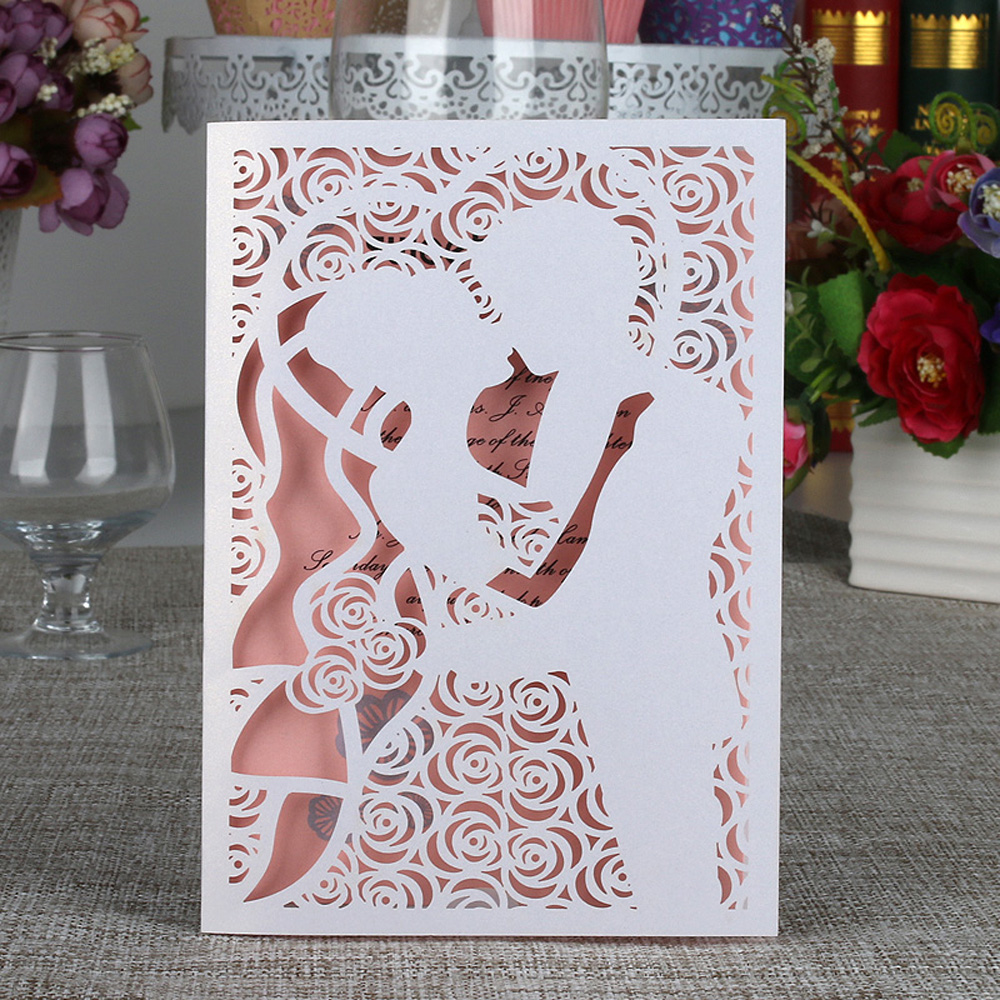 10cs Bride Groom Kiss Carved Pattern Wedding Invitation Card Laser Cut Wedding Card Kit with Inner Sheet Envelope Wedding Supply with this kiss