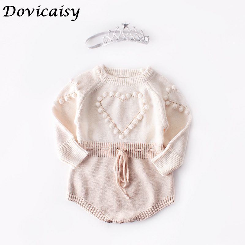 Autumn winter Baby Knitted Sweater   Romper   with heart Polka Dot Girls Pink Pure Cotton Baby Girl Clothing Jumpsuit Infant Clothin