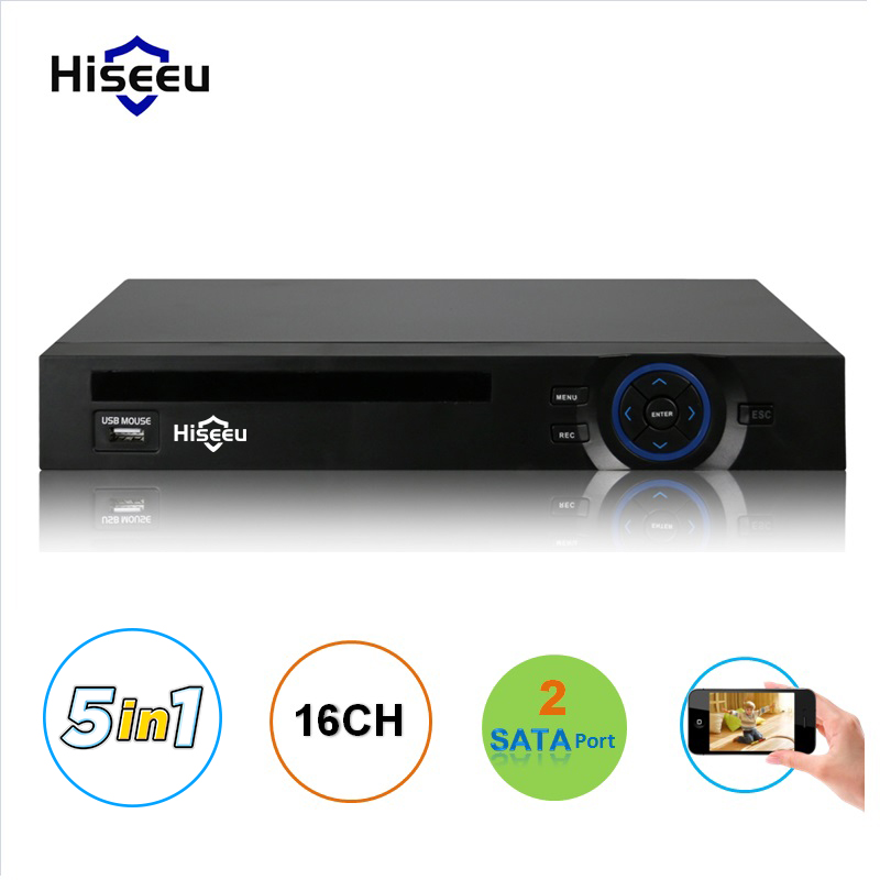 16CH AHD DVR 1080N CCTV Recorder Camera Network Onvif 16 Channel IP NVR 1080P Audio Input Multi-language Alarm 2HDD Hiseeu