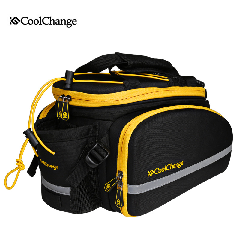 CoolChange Reflective Bike Bicycle Rear <font><b>Seat</b></font> Trunk Bag Cycling Carrier Bag Rack Panniers Waterproof With <font><b>Rain</b></font> Cover