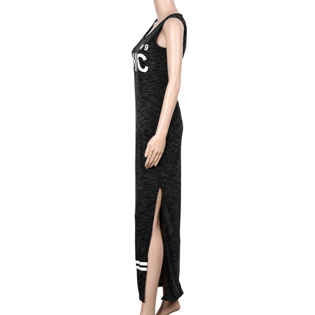 Feitong  Letter Print Sexy Women Dresses 2017 Fashion Summer Grey Long Dress Solid Sleeveless Lady Dress Girl Vestidos femininos