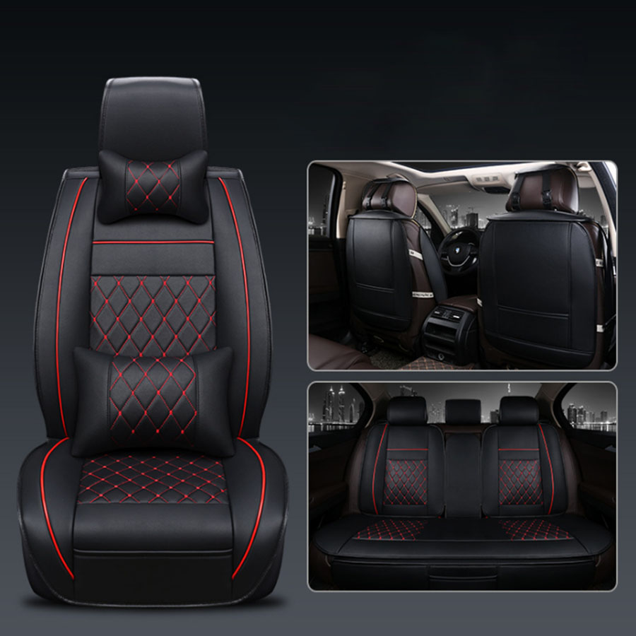 11Pcs/set PU Leather Deluxe Seat Protector Cushion Black Front Cover Universal
