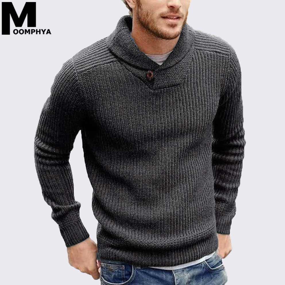 Moomphya Cowl Neck Knitted Men Sweater Pullover Men Long Sleeve Winter Sweater Men Sueter Hombre Stylish Slim Male Pull Homme