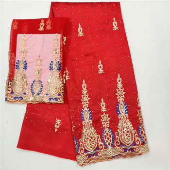 African George Lace Fabric Red High Quality George Lace Raw Silk George Wrappers 2019 Nigerian Lace Fabrics For Wedding  wh12-35