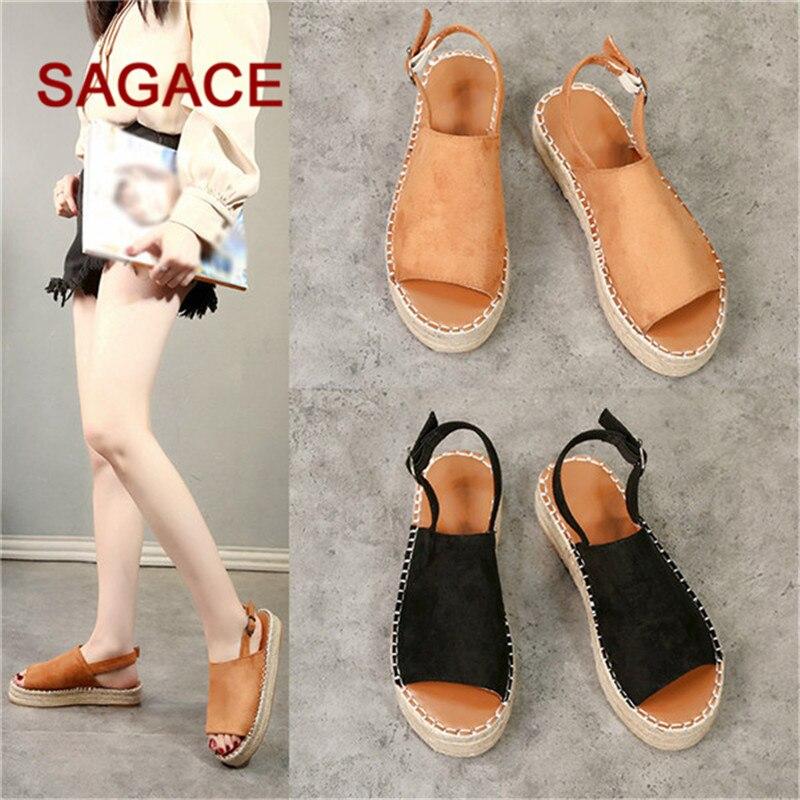 2019 Sagace Frauen Sandalen Plattform Peep Toe Woven Schnalle Flache Dicke-bottom Sandalen Rom Schuhe Dropship Sandalia Feminina