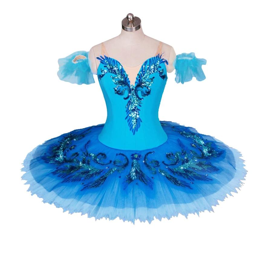 Costume bleu de Ballet de lac des cygnes adulte enfant professionnel Tutu robe de compétition robe de Ballerine de crêpe pour les Costumes de patinage de filles