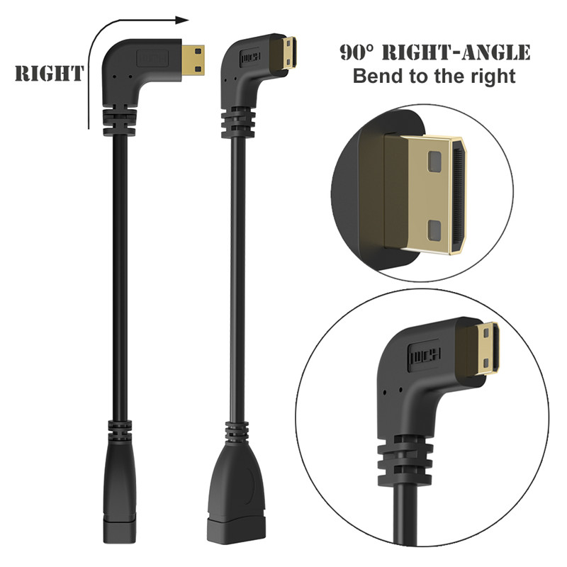 Image 4 - 90 Degree Right Angled Mini HDMI to HDMI Male to Female Cable for HDTV 1080p PS3 Evo HTC Vedio Gold Plated-in Computer Cables & Connectors from Computer & Office