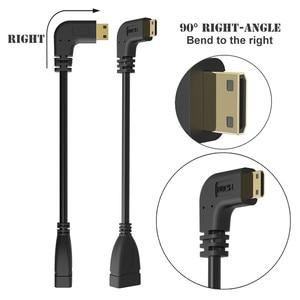 Image 4 - 90 degrés angle droit Mini HDMI vers HDMI mâle vers femelle câble pour HDTV 1080 p PS3 Evo HTC Vedio plaqué or
