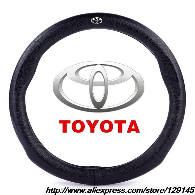 ACCESSORIES FOR  TOYOTA YARiS L SPORT STYLE  MICRO FIBER  LEATHER STEERING WHEEL COVER (DIAMETER:38CM) WITH MODEL LOGO