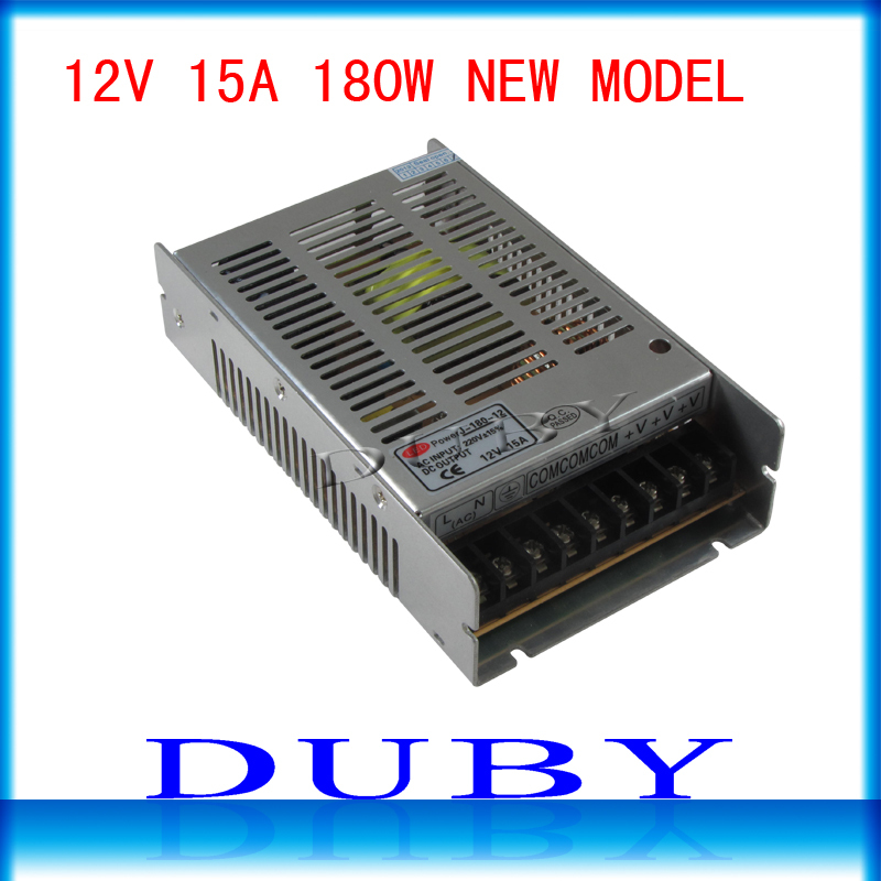 2pcs/lot 12V 15A 180W Switching power supply Driver For LED Light Strip Display AC100-240V  Factory Supplier free shipping ac 85v 265v to 20 38v 600ma power supply driver adapter for led light lamp