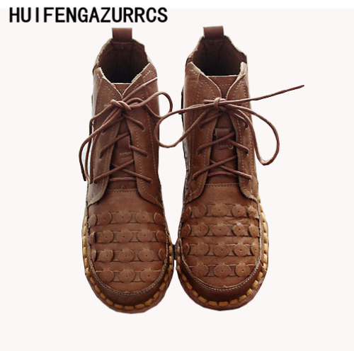 HUIFENGAZURRCS-In the autumn of 2018 comfortable soft bottom leather boots, the retro art mori girl Flats shoes,casual shoes huifengazurrcs 2018 new spring mori girl soft bottom leisure shoes genuine leather handmade shoes japanese retro shoes 4 colors